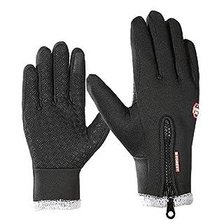 Aogolouk Winter Warme Handschuhe für Männer und Frauen | Windproof Anti-Rutsch-Touchscreen-Handschuhe mit Fleece Liner für Radfahren Laufen Handwärmer - Schwarz (S)