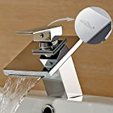 Auralum  Waschbecken Armatur Bad Eckig Wasserhahn Mischbatterie Einhebelmischer Waschtischarmatur Badezimmer Wasserfall