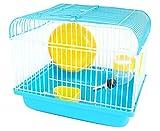 BPS Hamster Hamster Cottage avec roue, mangeoire et buveur 22.5 * 17 * 19 cm BPS-1257 (Blue)