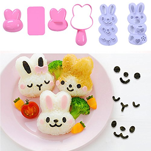 Set Reisball-Formen, klein, Cartoon-Muster, DIY-Sushi-Bento, Nori-Reis-Form Rabbit-shaped Bento Sushi