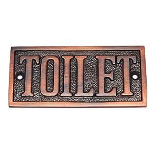 Adonai Hardware Rectangular Toilet Brass Door Sign - Antique Copper