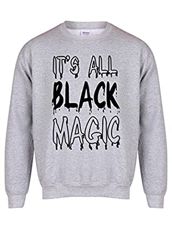 It's All BlackMagic - Grey - Unisex Fit Sweater - Fun Slogan Jumper (Medium - Chest 38-40 inches, w/Black)