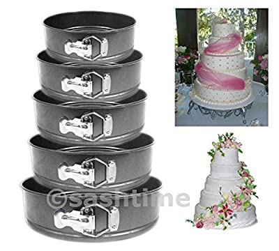 5pc Non Stick Springform Cake Pan Baking Bake Round Tray Tins Wedding Party