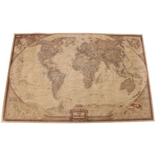 Bluelover 71 * 46.5 Cm Papel Mundo Antiguo Mapa Pared