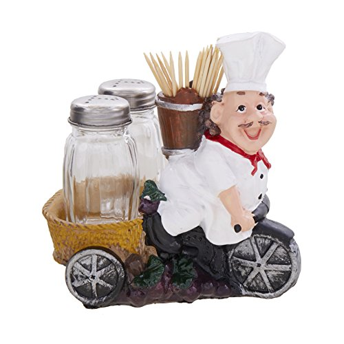 EZ Life Fat Foodie Chef Resin Holder – Salt Pepper Shakers with Toothpick Holder-Beige
