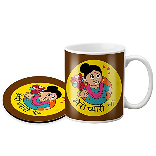 LOF Meri Pyari Maa Gifts For Mummy For Mother's Day and Birthday Anniversary Gifts 325 ml Ceramic Coffee Mug With Round Printed Coaster  available at amazon for Rs.399