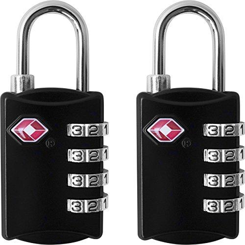 Ändern Der Kombination Tsa-schloss (TSA-Gepäck-Schlösser (2Stück)–4-stellige Kombination, Stahl-Vorhängeschlösser–zugelassenes Reise-Schloss für Koffer & Gepäck–Schwarz, mehrfarbig)