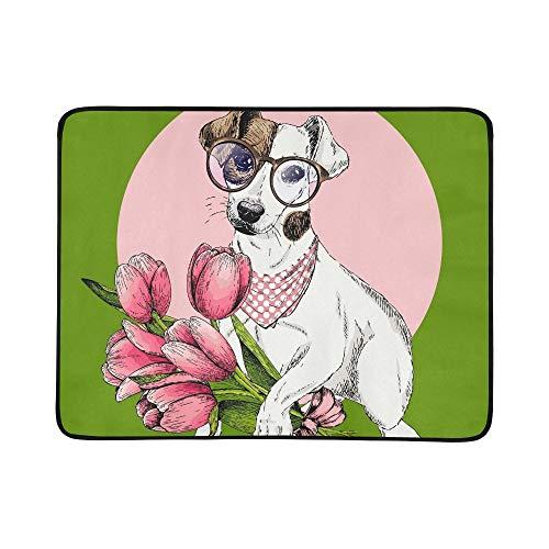 SHAOKAO Porträt Jack Russel Terrier Hund Tulip Tragbare Und Faltbare Deckenmatte 60x78 Zoll Handliche Matte Für Camping Picknick Strand Indoor Outdoor Reise