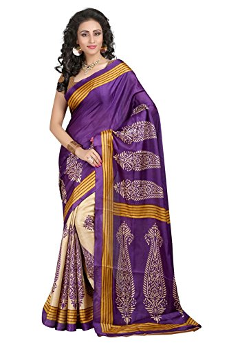 Vipul Women's Branded PURPLE & YELLOW Casual Wear Printed Silk Saree ( Bollywood Designer Saree With Designer Blouse Best Gift For Mummy Mom Wife Girl Friend, Exclusive Offers and Sale Discount 2017 )  available at amazon for Rs.197