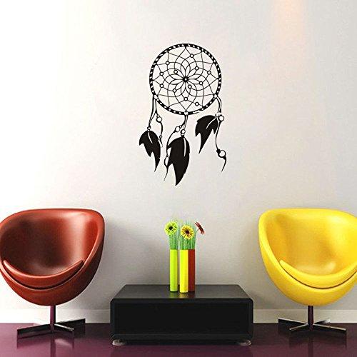 hetingyue Indische Traumfänger Vogelfeder Wandtattoo Schlafzimmer Amulett Logo Wanddekoration Vinyl Aufkleber entfernbares Wandbild 84x135cm
