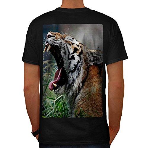 Tiger Gähnen Foto Tier Komisch Katze Herren S T-shirt Zurück   Wellcoda