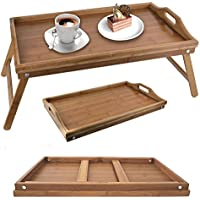 Folding Bamboo Wooden Breakfast Serving lap Tray Over Bed Table With Legs New (Bamboo Bed Tray) by E Trade