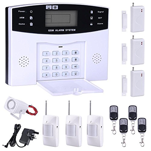 ReaseJoy GSM Home Door Window Keypad Security Burglar Alarm System Kit 99 Wireless and 8 Wired Zones White 13 Pcs