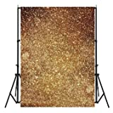 #5: 3X5ft Vinyl Golden Glitters Photography Backdrop Photo Studio Prop