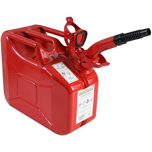 Stahlblechkanister rot 10 Liter + Auslaufrohr flexibel Benzinkanister Kanister