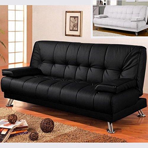 Bagno italia divano letto sofa 187x88 nero ecopelle braccioli antiribaltamento soggiorno salotto mod58