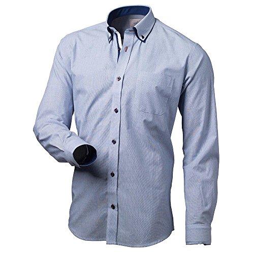 Victorio Herren Hemd Elegant Business Bekleidung Beste Qualität 028 Slim, Blau,L (Gestreifte Blau Button-down-shirt)