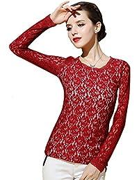 BININBOX Lace Damen Bluse elegante Langarm Rundhals Bluse OL Bestickte Blumen Spitzenbluse Tops Shirt slim fit
