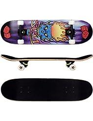 FunTomia® Skateboard Planche Érable 9 Plis charge max 100 kg, avec roues et ABEC-11 + sac inclus (Plusieurs coloris charge)