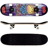 FunTomia® Skateboard mit ABEC-11 Kugellager Rollenhärte 92A und 9-lagigem Ahornholz
