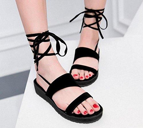 GLTER Peep-Toe cinghie delle donne sandali romani scarpe grosse cinturino alla caviglia pompe T-Bar Black
