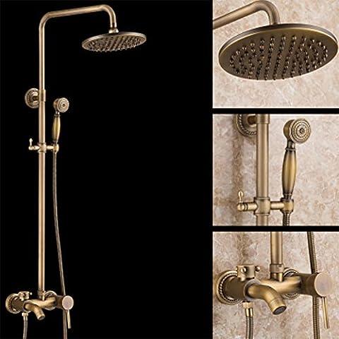 Komplette Kupfer Antike EuropäIsche Dusche Suite Regen-Dusche Mit Kalt- Und Warm Badezimmer Regendusche Set Mit , A-1