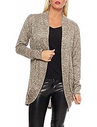 e261fa2e9eee Malito Damen Strickjacke lang   Cardigan im eleganten Design   Angesagter  Oversize Look - Weste -