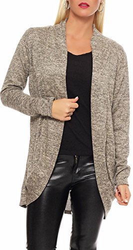 Malito Damen Strickjacke lang   Cardigan im eleganten Design   Angesagter Oversize Look - Weste - Jacke 5021 (beige)