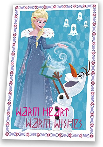 Disney wd19566frozen-elsa e olaf 'warm heart warm wishes' 150cm x 100cm, coperta in pile