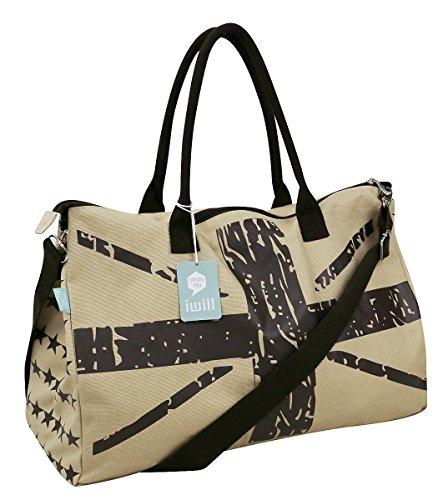 Segeltuch Kreuzkörper Taschen, Reise Top-Griffe Tasche, Duffle Bag, Umhängetaschen, Strand Handtaschen, Reise Tragetaschen khaki,Flagge