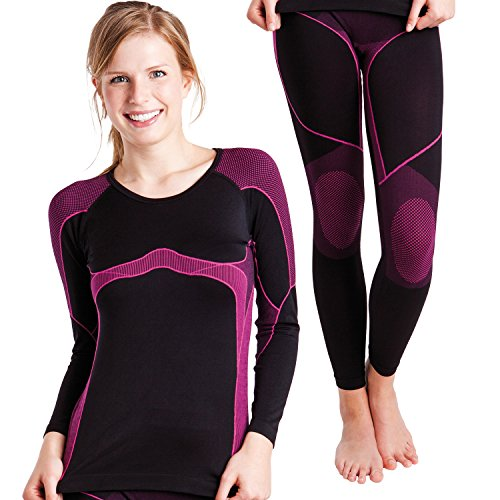 Sport Funktionswäsche Damen Set (Hemd + Hose) Seamless von celodoro - Ski-, Thermo- & Funktionswäsche ohne störende Nähte mit Elasthan - Funktionsunterwäsche in versch. Farben