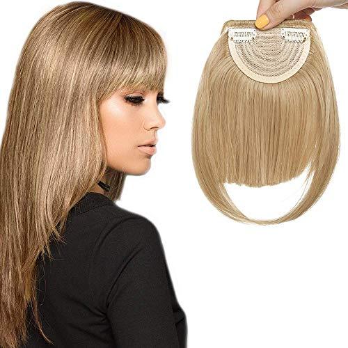 Clip in Pony Haarteil Extensions Fringe Bangs One Piece In Front Hair Verlängerung glatt wie Echthaar Mittelblond - Bleiben In Front