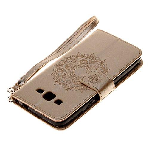 Samsung Galaxy G530 Cover Case HuaForCity® Portafogli Custodia in Pelle PU Copertina con Slot per schede Magnetica Flip Chiusura Stile del Libro Supporto Funzione Bumper Caso for iphone Samsung Galaxy Gold