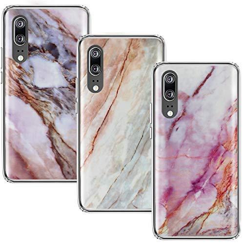 CLM-Tech Hülle 3X kompatibel mit Huawei P20, TPU Silikon-Hülle Case Schutzhülle Handyhülle 3er Set, Marmor lila Mehrfarbig