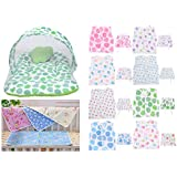 Baby Fly Baby Gift Pack Combo Pack Of 1 Green Polka Print Mosquito Net Bed/Toddler Mattress With Mosquito Bed And 4 Plastic Diaper Changing Sheets With 8 Baby Jhabla/Vest And 8 Single Layer Nappies (0-6 Months)