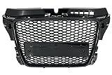 KITT fgaua38pfrsbpdc Front Grill Kühlergrill ohne Emblem mit Waben glänzend schwarz mit PDC Bezüge aus hochwertigem Kunststoff