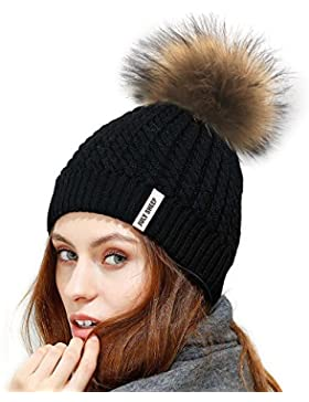 July Sheep, berretto invernale in maglia di lana, da donna, con pon pon, da sci
