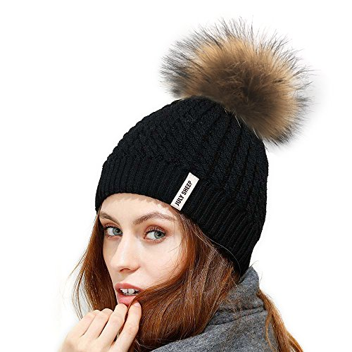 ee5ab09d789 Sale JULY SHEEP Womens Girls Winter Crochet Knit Hat Wool Knitted Beanie  with Pom Pom Bobble Ski