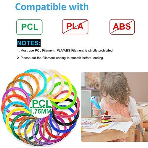 Friencity 3D Druck Stift für Kinder Erwachsene, PCL Niedrigtemperatur, wiederaufladbare 3D Doodler Drawing Drucker Stift mit LED-Licht, 10pcs Zeichnung Vorlagen und 10M PCL Filamente für Kunsthandwerk - 6