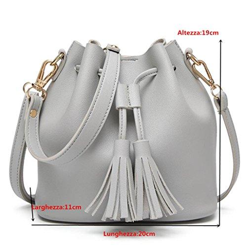 Donna Borsa Elegante,Kword Moda Donna In Pelle Nappe Borsa Crossbody Spalla Messenger Benna Bag Grigio