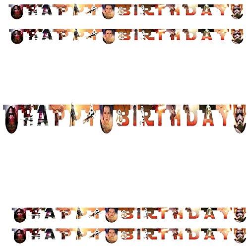 Procos Happy-Birthday Banner * Stars Wars * für Einen Kindergeburtstag // Kinder Geburtstag Party Paper Letter Banner Alien Krieg der Sterne Darth Vader (Party Wars Star Banner)