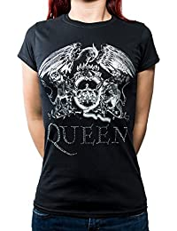 Queen T Shirt band Logo diamante nouveau officiel Femme Skinny Fit Noir
