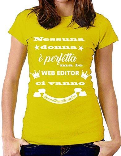 """Tshirt Tshirt MESTIERI nessuna donna è perfetta ma le """" web editor """" ci vanno dannatamente vicine - web editor - Tutte le taglie by tshirteria Giallo"""