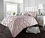 LONDON.BEDDING @ DESIGNER ALFORD / PINTUCK WHITE_BLACK_CREAM_LATTE/ MOCHA_GREY/SILVER_PINK_ LUXURY DUVET QUILT COVER SET WITH PILLOW CASES (Double, Soft - Pink)