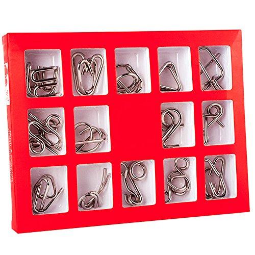 Holzsammlung Knobelei aus Metall IQ-Spiel Puzzle Set, Gehirnjogging Puzzles 3D Denksportaufgaben Geschicklichkeitsspiel Brainteaser 15 Stücke Knobelspiele für Erwachsene Kinder Geschenk Set #12