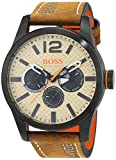 Hugo BOSS Paris Herren-Armbanduhr Chronograph Quartz mit braunem Leder Armband 1513237