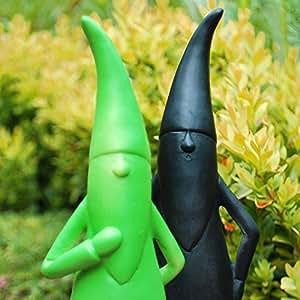 Lot de 2 nains de jardin modernes Noir/vert: Amazon.fr: Jardin