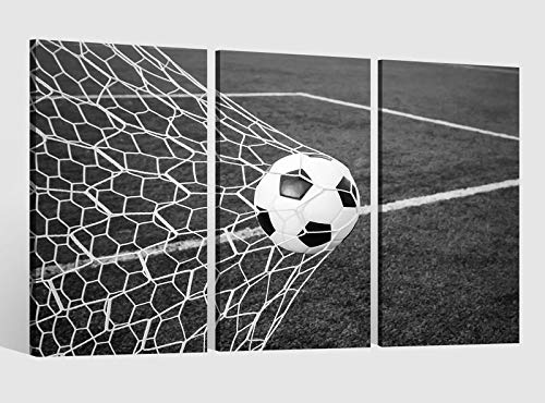 Leinwandbild 3 tlg schwarz Tor Fussball Ball Feld Sport Fußball Bild Leinwand Leinwandbilder Wand mehrteilig gerahmt 9BE710, 3 tlg BxH:120x80cm (3Stk 40x 80cm) (Sport-bilder Gerahmt)