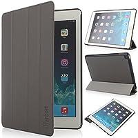 iHarbort® Apple iPad Air 2 Hülle - Slim Smart Cover Case Leder Tasche Hülle Etui Schutzhülle Ständer für iPad Air 2, mit Schlaf / Wach-up-Funktion (iPad Air 2, grau)