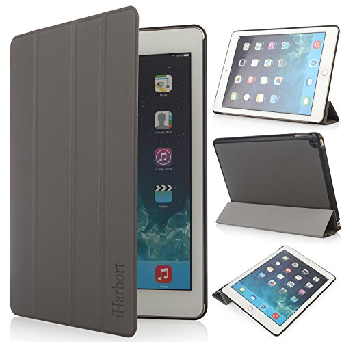 iHarbort® Apple iPad Air 2 Hülle - Slim Smart Cover Case Leder Tasche Hülle Etui Schutzhülle Ständer für iPad Air 2, mit Schlaf / Wach-up-Funktion (iPad Air 2, grau) (Apple Leder Air Ipad Slim Case)